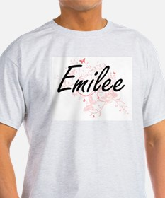 Emilee Artistic Name Design with Butterfli T-Shirt