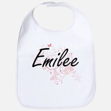 Emilee Artistic Name Design with Butterflies Bib