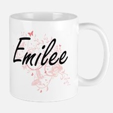 Emilee Artistic Name Design with Butterflies Mugs
