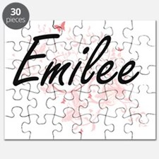 Emilee Artistic Name Design with Butterflie Puzzle