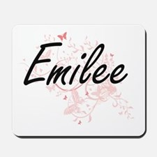 Emilee Artistic Name Design with Butterf Mousepad