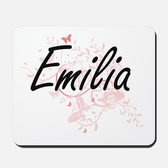 Emilia Artistic Name Design with Butterf Mousepad