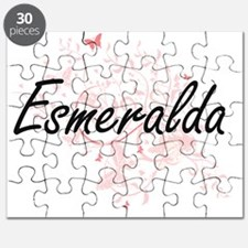 Esmeralda Artistic Name Design with Butterf Puzzle
