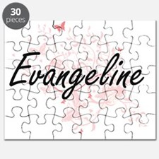 Evangeline Artistic Name Design with Butter Puzzle