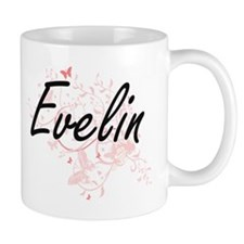 Evelin Artistic Name Design with Butterflies Mugs