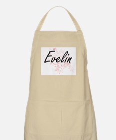 Evelin Artistic Name Design with Butterflies Apron