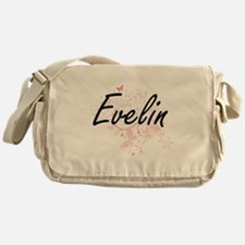 Evelin Artistic Name Design with But Messenger Bag