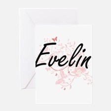 Evelin Artistic Name Design with Bu Greeting Cards