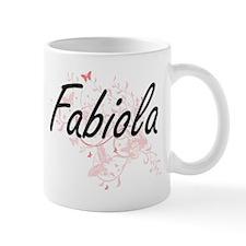 Fabiola Artistic Name Design with Butterflies Mugs