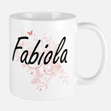 Fabiola Artistic Name Design with Butterflies Mugs