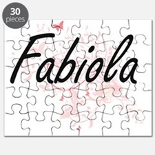 Fabiola Artistic Name Design with Butterfli Puzzle