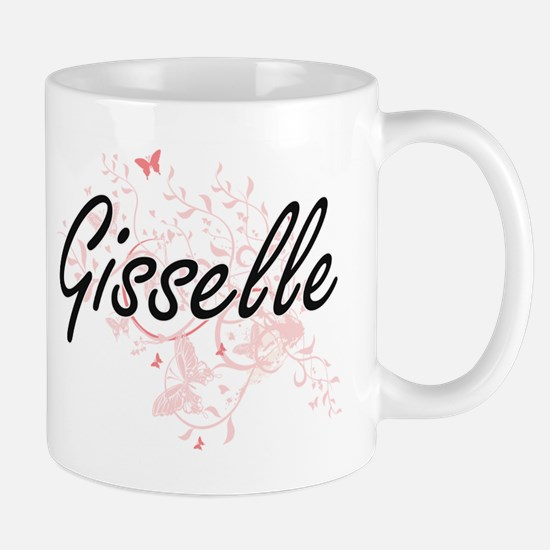 Gisselle Artistic Name Design with Butterflie Mugs