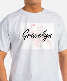 Gracelyn Artistic Name Design with Butterf T-Shirt