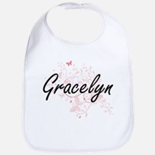 Gracelyn Artistic Name Design with Butterflies Bib
