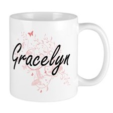 Gracelyn Artistic Name Design with Butterflie Mugs