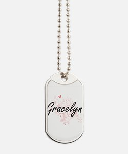 Gracelyn Artistic Name Design with Butter Dog Tags