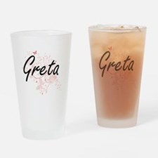 Greta Artistic Name Design with But Drinking Glass