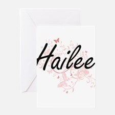 Hailee Artistic Name Design with Bu Greeting Cards