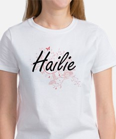 Hailie Artistic Name Design with Butterfli T-Shirt