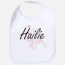 Hailie Artistic Name Design with Butterflies Bib