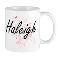 Haleigh Artistic Name Design with Butterflies Mugs