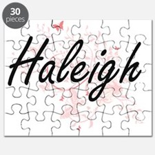 Haleigh Artistic Name Design with Butterfli Puzzle