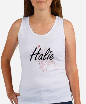 Halie Artistic Name Design with Butterfli Tank Top