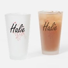 Halie Artistic Name Design with But Drinking Glass