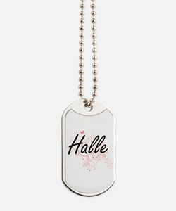 Halle Artistic Name Design with Butterfli Dog Tags