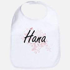 Hana Artistic Name Design with Butterflies Bib
