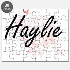 Haylie Artistic Name Design with Butterflie Puzzle