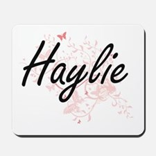 Haylie Artistic Name Design with Butterf Mousepad