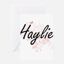Haylie Artistic Name Design with Bu Greeting Cards