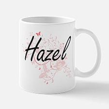 Hazel Artistic Name Design with Butterflies Mugs