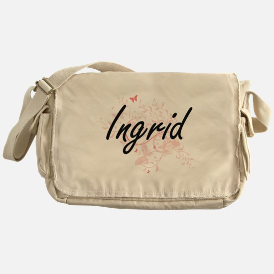 Ingrid Artistic Name Design with But Messenger Bag
