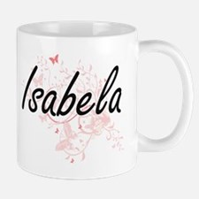 Isabela Artistic Name Design with Butterflies Mugs