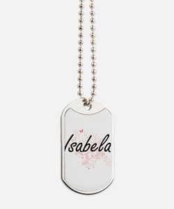 Isabela Artistic Name Design with Butterf Dog Tags