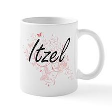Itzel Artistic Name Design with Butterflies Mugs