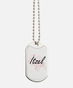 Itzel Artistic Name Design with Butterfli Dog Tags