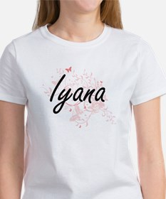 Iyana Artistic Name Design with Butterflie T-Shirt
