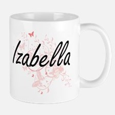 Izabella Artistic Name Design with Butterflie Mugs