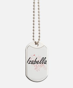 Izabella Artistic Name Design with Butter Dog Tags