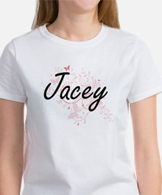 Jacey Artistic Name Design with Butterflie T-Shirt