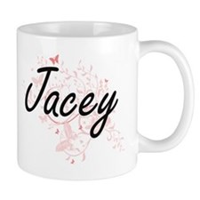 Jacey Artistic Name Design with Butterflies Mugs