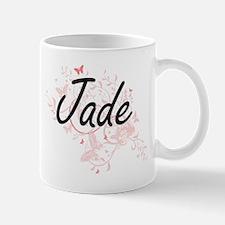 Jade Artistic Name Design with Butterflies Mugs
