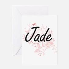 Jade Artistic Name Design with Butt Greeting Cards