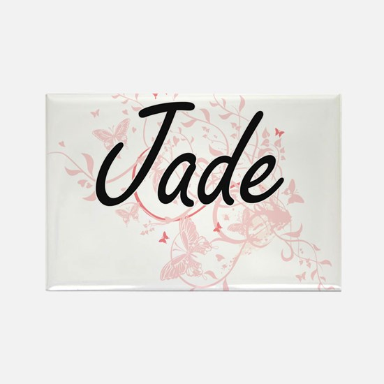 Jade Artistic Name Design with Butterflies Magnets