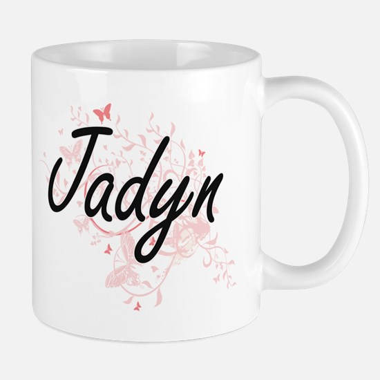 Jadyn Artistic Name Design with Butterflies Mugs