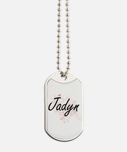 Jadyn Artistic Name Design with Butterfli Dog Tags