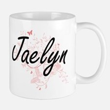 Jaelyn Artistic Name Design with Butterflies Mugs